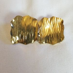 Avon Gold Tone Textured Square Earrings